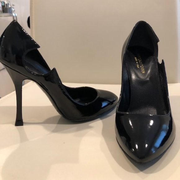 Sergio Rossi Shoes - Sergi Rossi Black Patent Leather Cutout Heel-Sexy